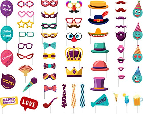 HippParty Photo Booth Props - Party Photo Booth Props (55 Piece Pack Fully Assembled) Photobooth Props For Parties - 40th - 50th to 60th Birthday Photo Booth Props - Funny Photo Props