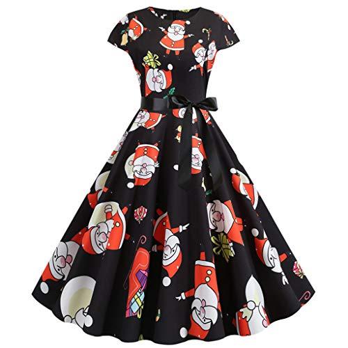 TIMEMEAN Kleider Damen Festlich O-Ausschnitt Kurzarm Jahrgang 1950S Jahre Party Prom Plissee Kleid