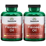 Swanson Flaxseed Oil Made with Organic Flaxseed Oil 1 g 200 Sgels 2 Pack