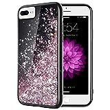 Caka iPhone 8 Plus Case, iPhone 6 Plus 6S Plus 7 Plus Glitter Case Bling Flowing Floating Liquid Sparkle Soft TPU Black Glitter Case for iPhone 6 Plus 6S Plus 7 Plus 8 Plus (Rose Gold)