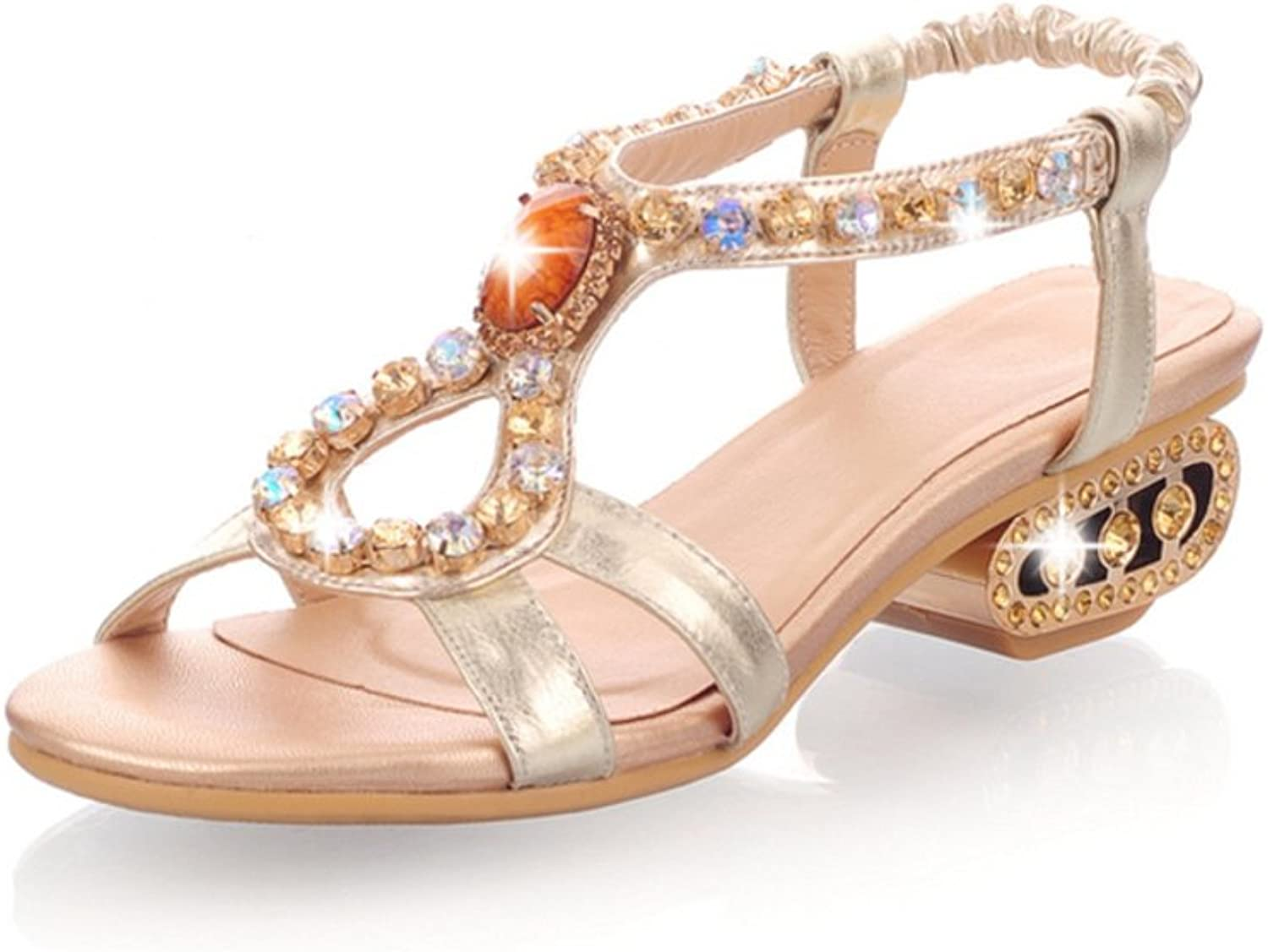 RHFDVGDS Summer fashion Sandals Leather shoes Rhinestone flat sandals with flat
