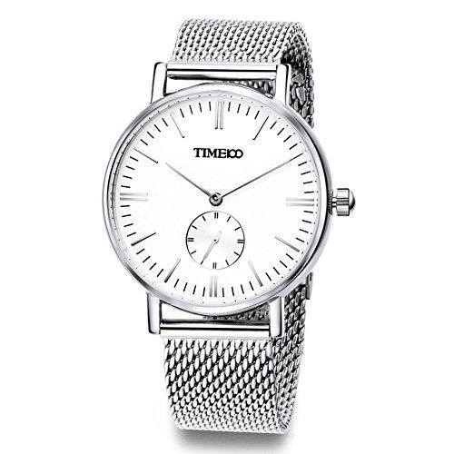 Time100 Reloj Cuarzo Hombre Moderno con Correa Malla de Acero Inoxidable con Esfera Cristal Resistente a raspón y al Agua hasta 3 ATM del Color Plateado