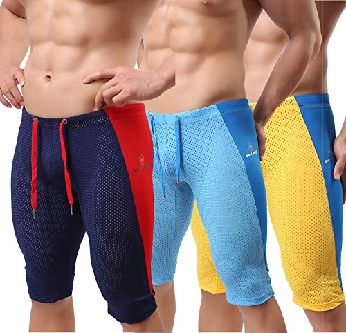 BRAVE PERSON Men's Fashion Mesh Sports Shorts Fitness Pants Stretch Leggings B2227 (L, Navy/Blue/Yellow)