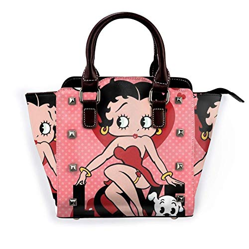 Betty Boop Rivet Damen Umhängetasche Leder Punk Niet Menger Tasche Handtasche Hobo Brieftasche Verstellbarer Schultergurt