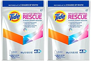 Tide Brights and Whites Rescue in Wash Laundry Booster Packs, 27 Count (2 Pack)
