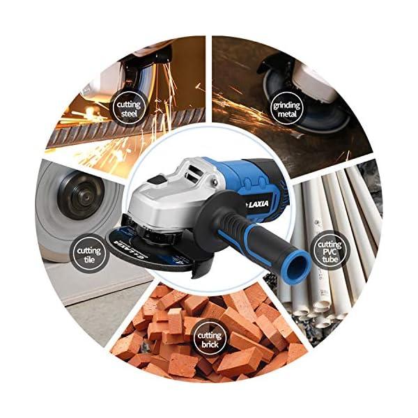 G LAXIA Amoladora Angular, 20V 115mm Herramienta Amoladora,Incluye Batería de 4.0 Ah y Cargador, Ruedas de corte y Rectificado, Mango Lateral para Cortar y Rectificar