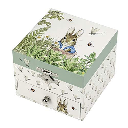 TROUSSELIER - Pierre Lapin - Peter Rabbit - Boîte à Trésors & Bijoux Musicale - Idéal Cadeau Enfant - Musique Lullaby de Mozart - Colori Vert