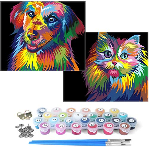 MITCIEN Paint by Numbers 2 Sets for Kids & Adults & Beginner , DIY Oil Painting Gift Kits 13.4 x16.5 inch Canvas ( with Wooden Frame ) - Colorful Cat and Dog