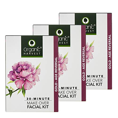 Organic Harvest Gold Age Reversal Facial Kit , Rejuvinates Skin Cells, Reduces Fine Lines & Signs of Ageing, Natural Glow To Skin,For All Skin Type,100% Organic, ECOCERT Certified, Chemical Free (Gold, Pack of 3, 50gm Each)
