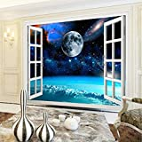 Papel Tapiz Fotográfico Mural 3D Ventana Espacio Planeta Tierra Pintura De Pared Dormitorio Sala De Estar Papel Tapiz Decoración Del Hogar Papel Tapiz 140cmx100cm