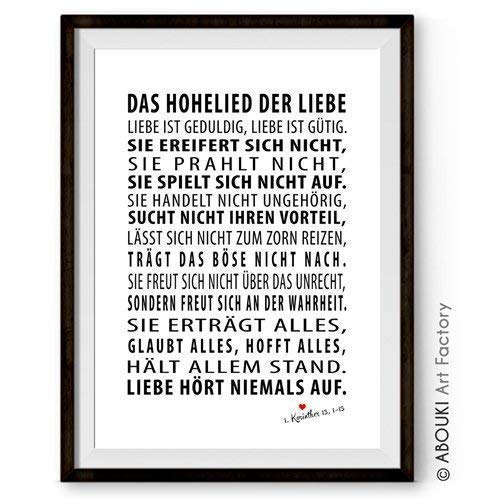 ABOUKI Das Hohelied der Liebe Kunstdruck - ungerahmt - Geschenk-Idee Hochzeit Verlobung Jahrestag Valentinstag für Sie Ihn Liebes-Paar Frau Mann Freund Freundin
