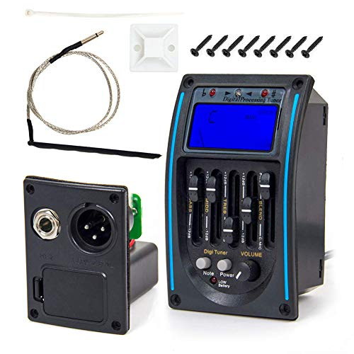 Naliovker 5 Band Equalizer Ton Abnehmer, Akustik Gitarren Vorverst?Rker Tuner mit LCD Tuner und Lautst?Rke Regler LC-5