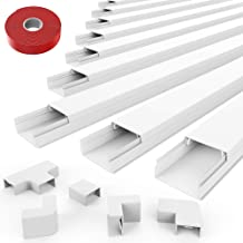 Cord Concealer Cable Management Channel - UMTELE 157 inch White Channel - On-Wall Cord Cover Raceway Kit to Hide Wires for Wall Mount TV, Offices, Computers - 10 X L15.7in X W0.91in X H0.5in - Medium
