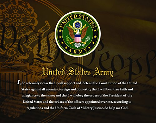 """United States Army, Officially Licensed, Framed Print (14"""" X 11"""") Featuring The Army Seal and Oath on a Patriotic Background. Perfect for Home or Office!"""