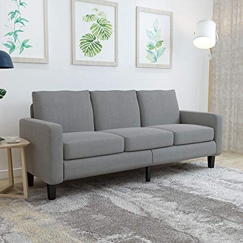 Sofa Couch 3 Seater Linen Fabric Sofa w/Thick Cushion and Deep Seat Mid-Century Modern Upholstered Accent Arm Sofa Loveseat for for Living Room, Bedroom, Office, Apartment, Small Space
