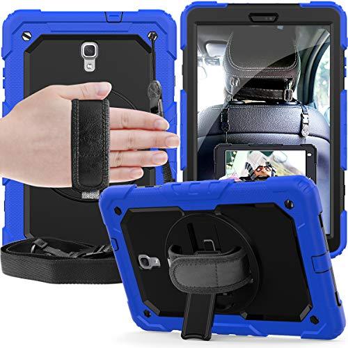 Lobwerk - Custodia 4 in 1 per Samsung Galaxy Tab A 10.5 pollici T590 T595 Outdoor Cover con protezione per display, cinghia da polso e portapenne