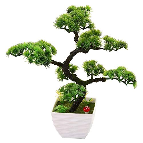 Árboles artificiales Árbol de Bonsai Artificial en Blanco Pote de plástico Pot Simulación Bienvenido Pino Pequeño Pequeño Potted Planta Verde Bonsai Fake Pine para Oficina Decoración para el hogar Peq