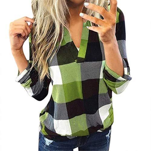 Bluse Damen V-Ausschnitt Kariert 3/4 Ärmel Kurzarm Tunika Tops Longshirt Shirt Top Frauen Casual Baumwolle Langarm Plaid Shirt Slim (L,1Grün)