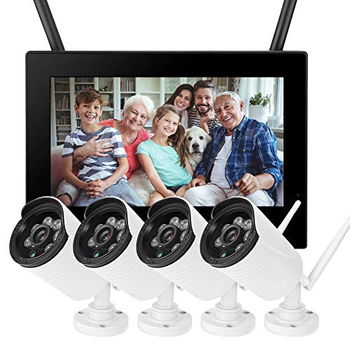 Videocamera sorveglianza Fotocamera Interna Wireless 10in 1.3MP HD Camera di Sorveglianza per Interni WiFi Baby Monitor 4 Pack Camere Smart DVR Sistema Domestico per Telefoni Cellulari iPad Computer