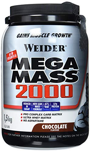 Weider Mega Mass 2000, Kohlenhydrat-Proteinmischung - Geschmack: Schokolade, 1er Pack (1 x 1.5 kg)