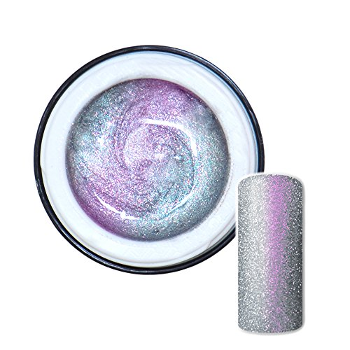 Flip Flop Farbgel Silber-Pink mit Glitter hochdeckend 5ml