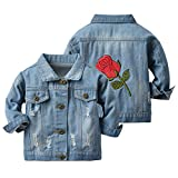 Baby Boys Girls Denim Jacket Kids Toddler Rose Embroidery Button Jeans Jacket Top Coat Outerwear (Blue, 5-6 Years)