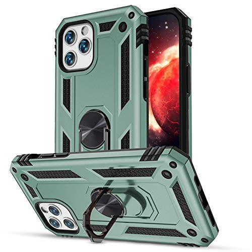 LEOMARON Compatible with iPhone 12/ iPhone 12 Pro Case, [Military Grade] Double Layer Protection Shockproof Case with Magnetic Car Mount Ring Kickstand 6.1 Inch 2020 case, Pine Green