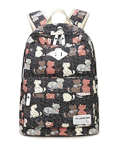 DNFC Schulrucksack Canvas Rucksack Fashion Schultaschen Katze Schulranzen Mädchen Teenager Damen Freizeitrucksack Mode Kinderrucksack Daypack Backpack (Schwarz)