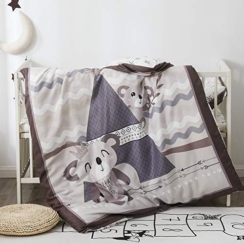 PomCo Koala Crib Bedding Set, 5PCS Cartoon Crib Baby Bedding Set-Includes Crib Comforter and Pillow Insert, Crib Duvet Cover, Fitted Sheet and Pillowcase, Animal Crib Bedding Set for Baby Boy Girl
