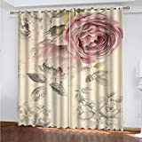 Blackout 3D Window Curtains Colored Flowers Blackout Curtain Thermal Insulated Printed Pleat Curtain Fabric Anti-Bacterial Suitable.