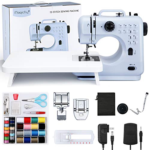 Magicfly Portable Sewing Machine, 12 Built-in Stitches Mini Sewing Machine for Beginner with Reverse Sewing, 3 Replaceable Feet, Extension Table, Accessory Kit, Blue