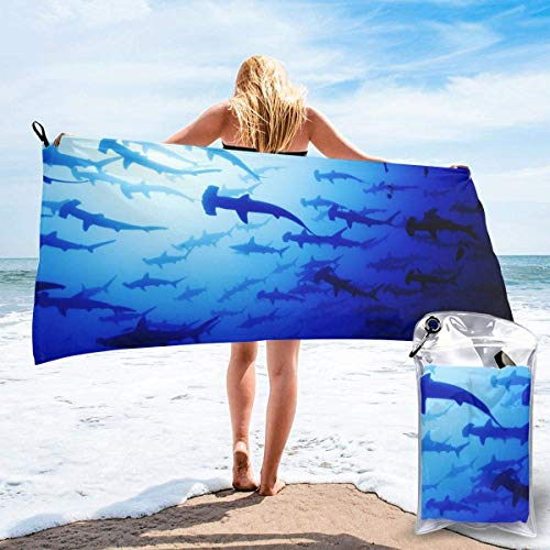 Bathroom Towels Shower Towels Grupos de tiburones martillo de toalla de playa de secado rápido Beach Towels 140 X 70