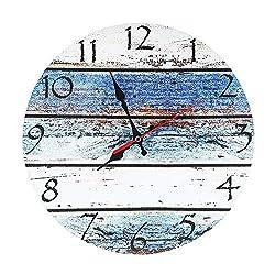 LOHAS Home 12 Inch Silent Vintage Design Wooden Round Wall Clock (Seashore)