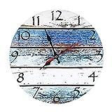 LOHAS Home 30 cm Reloj de Pared de Cuarzo Estilo Toscano Vintage Francesa Paris Reloj de Madera (Seashore)