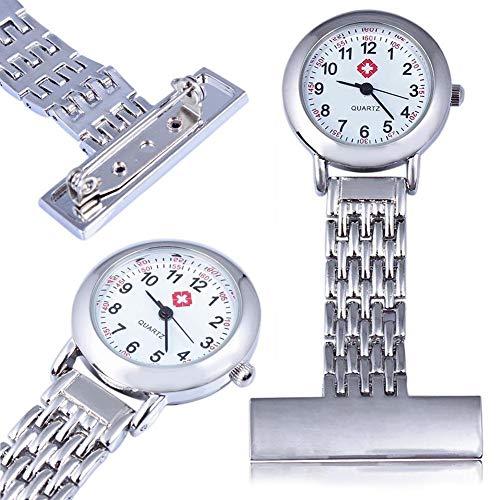 Reloj de bolsillo vintage de acero inoxidable plateado para