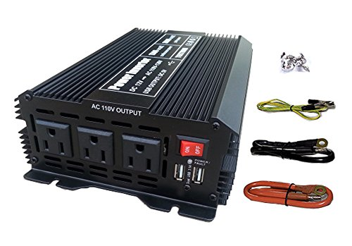 Tektrum 1500W Power Inverter 12V DC to 110V AC, 3 AC Outlets, 2 USB Ports, Intelligent Cooling Fan, Battery Cables Best for Computer, Laptop, Fan, TV, Mini-Fridge, Window A/C, Smart Phone