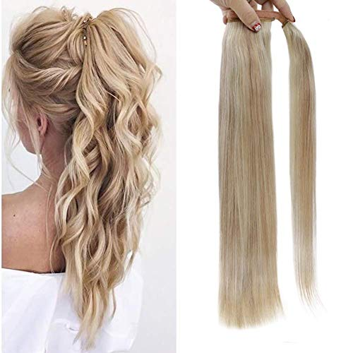 Full Shine 20 Inch Extensions Wrap Ponytail 100 Gram One Piece Ponytail Hair Extensions 18 Ash Blonde and 613 Highlighted Hair Extensions Pony Tail Brazilian Straight Real Human Hair