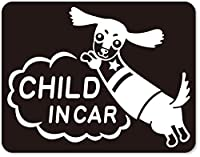 imoninn CHILD in car ステッカー 【マグネットタイプ】 No.38 ミニチュアダックスさん (黒色)