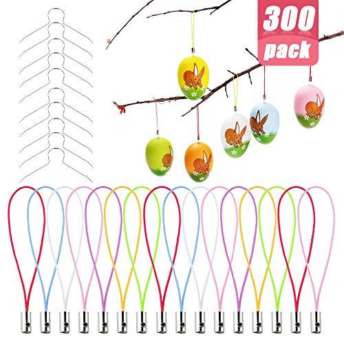 150 Stück Aufhänger für Ostereier Kugel Deko Eieraufhänger Kugelaufhänger Ostern Eier mit 150 Stück Bunte Schnur, Metallhaken Haken für Kunststoffeier, Plastikeier zur Deko Ostern
