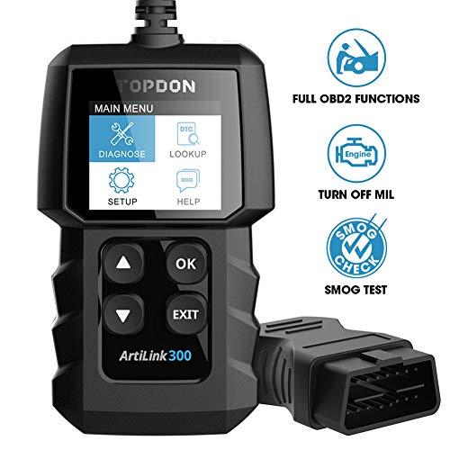 Topdon ArtiLink300 OBD2 diagnosegerät OBD2 Codeleser mit vollen OBD2-Funktionen, Lesen und Löschen von Codes zum Ausschalten der Motorkontrollleuchte, Überprüfen I/M Bereitschaftsstatus für Smog-Test