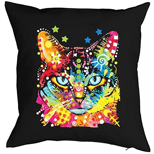 Blue Eyes Cat Chats Gatti Gatos Coussin, Pop Art Style