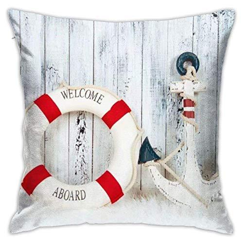 Hangdachang Christmas Decorative Lifebuoy Anchor Throw Pillow Covers Cotton Polyester Cushion Cover Pillowcases Sofa Home Decor 18 X 18 Inch
