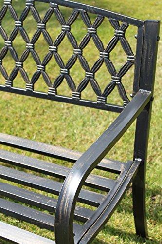 Warwick Gartenbank aus Metall mit Rückenlehne aus Gusseisen im Netzmuster - 4