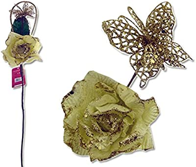 FLOWERS ROSE W/ GLITTER BUTTERFLY 3ASST COLOR , Case of 144