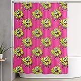 CDMT-XU1 Duschvorhang Spongebob Kunstdruck, Polyester Stoff Badezimmer Dekorationen Sammlung mit Haken 60X72 Zoll