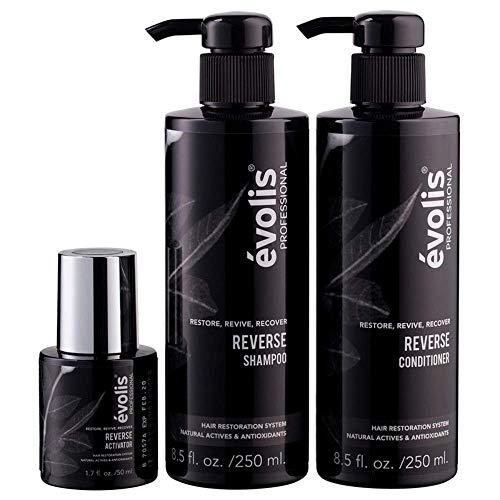 évolis REVERSE 3 Step System - Activator, Shampoo & Conditioner - Hair Growth Treatment - Keratin Treatment for Thinning Hair - Accelerates Hair Growth, Thickens Hair and Decreases Hair Fall