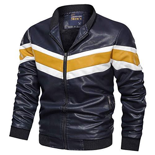 Hombre Chaqueta Hombre Chaquetas Cuero Sintético Casual y Jersey acolchonado con Capucha Abrigo cálido, L- 3XL (crjak027)