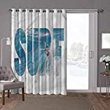 YUAZHOQI - Cortina térmica para puerta de cristal corrediza, surf, océano en adrenalina de Hawaii, 100 x 108 pulgadas de ancho para patio (1 panel)