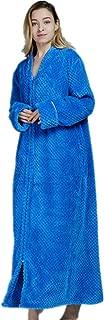 Womens Full Length Solid Long Sleeve Zipper Flannel Robe Couple Pajamas Bathrobe for Women