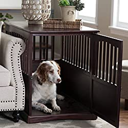 Newport Dog Crate Kennel Cage Bed Night Stand End Table Wood Furniture Cave House Room Large Size/Dark Brown.